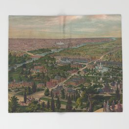 Vintage Pictorial Map of Philadelphia PA (1876) Throw Blanket