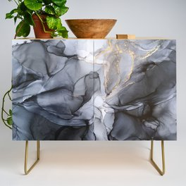 Calm but Dramatic Light Monochromatic Black & Grey Abstract Credenza