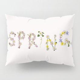 SPRING - Flower Typography Pillow Sham