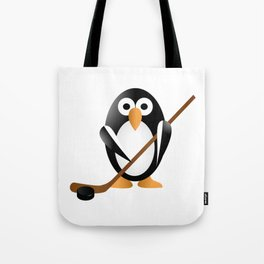 Penguin with a hokey stick Tote Bag