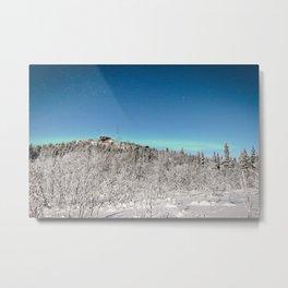 Alaska Northern Lights Fairbanks Aurora Borealis Winter Night Landscape Metal Print