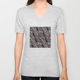 paisley wave in black and white Unisex V-Neck