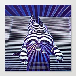 2519s-JPC Blue Striped Nude Woman From Behind Canvas Print