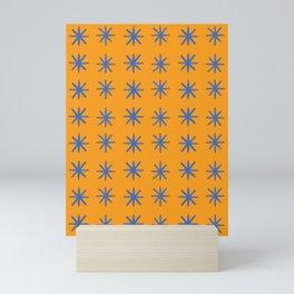 Modern Hand-drawn Minimalist Abstract Stars / Snowflakes Pattern in Bright Bold Tangerine Orange and Cobalt Blue Mini Art Print