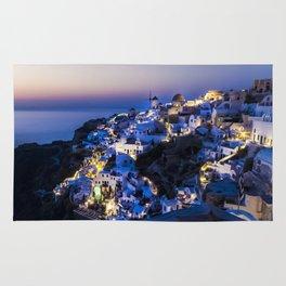 Santorini Island NightView Greece Rug