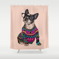 frenchie Shower Curtains featuring hipster frenchie by Huebucket
