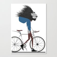 Hipster Lion and his Bicycle Canvas Print