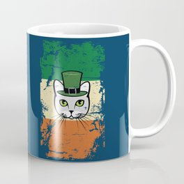 Irish Flag St Patrick Cat Leprechaun Blue Coffee Mug