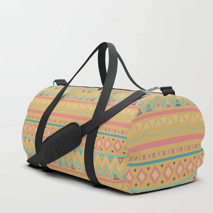 Hand Painted Geometrical Pink Teal Yellow Tribal Aztec Duffle Bag