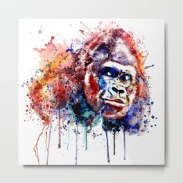 Gorilla Watercolor portrait Metal Print