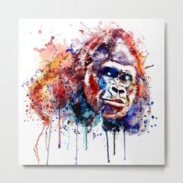 Gorilla Watercolor portrait Metal Print