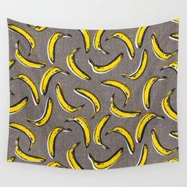 Pop Art Bananas - Gray Wall Tapestry