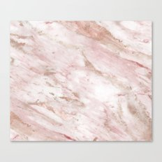 Pink marble - rose gold accents Canvas Print