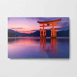 Wonderful sunset colors at the famous floating Torii Gate on Miyagima Island, Japan. Metal Print