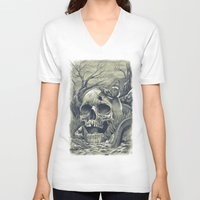 skull V-neck T-shirts featuring SKULL  by Prajoedi