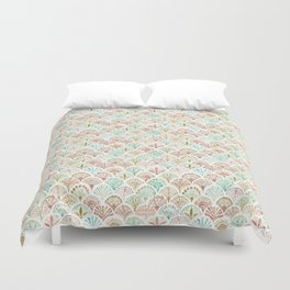SHELL OUT Coral + Mint Mermaid Scales Duvet Cover