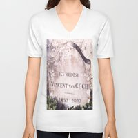 van gogh V-neck T-shirts featuring Van Gogh by John Weeden