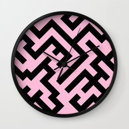 Black and Cotton Candy Pink Diagonal Labyrinth Wall Clock