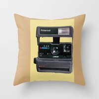 polaroid Throw Pillows featuring Polaroid  by Dora Birgis