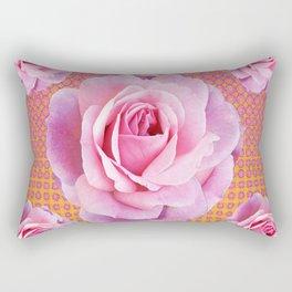 PINK GARDEN ROSES OPTICAL PATTERN ART Rectangular Pillow