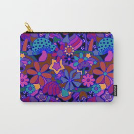 70's Psychedelic Garden in Cool Jeweltone Carry-All Pouch