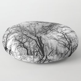 Flying tree branches, black and white Floor Pillow