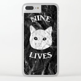 Nine Lives Black Background Clear iPhone Case
