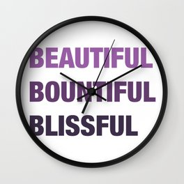 Daily mantra in purple Wall Clock