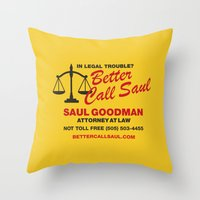 better call saul Throw Pillows featuring Better Call Saul  by Laundry Factory