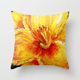 Frilly Yellow and YellowOrange Daylily Throw Pillow