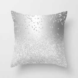 Modern silver glitter ombre metallic sparkles confetti Throw Pillow