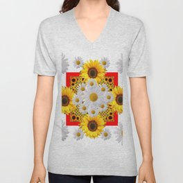 WHITE DAISIES & SUNFLOWERS RED GARDEN  FLORAL Unisex V-Neck