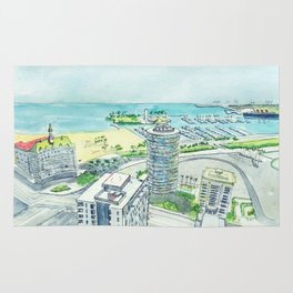 Aerial View of Downtown Long Beach Rug