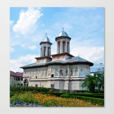 horezu city romania old church landmark architecture Canvas Print