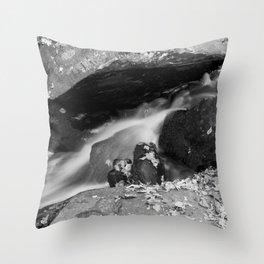 Water Cascading around Rocks Throw Pillow