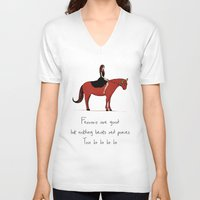 pony V-neck T-shirts featuring Red Pony by Poorboymark
