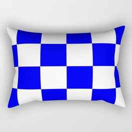 Large Checkered - White and Blue Rectangular Pillow