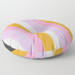 Abstract Print - Mixed Colors and Patterns Wavy Lines Floor Pillow
