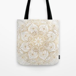 Trendy Gold Floral Mandala Marble Design Tote Bag