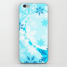 Blue Flower Art Winter Holiday iPhone Skin