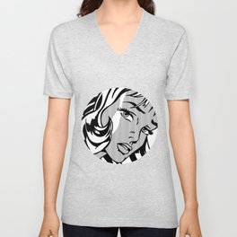 Girl with Hair Ribbon B&W Unisex V-Neck