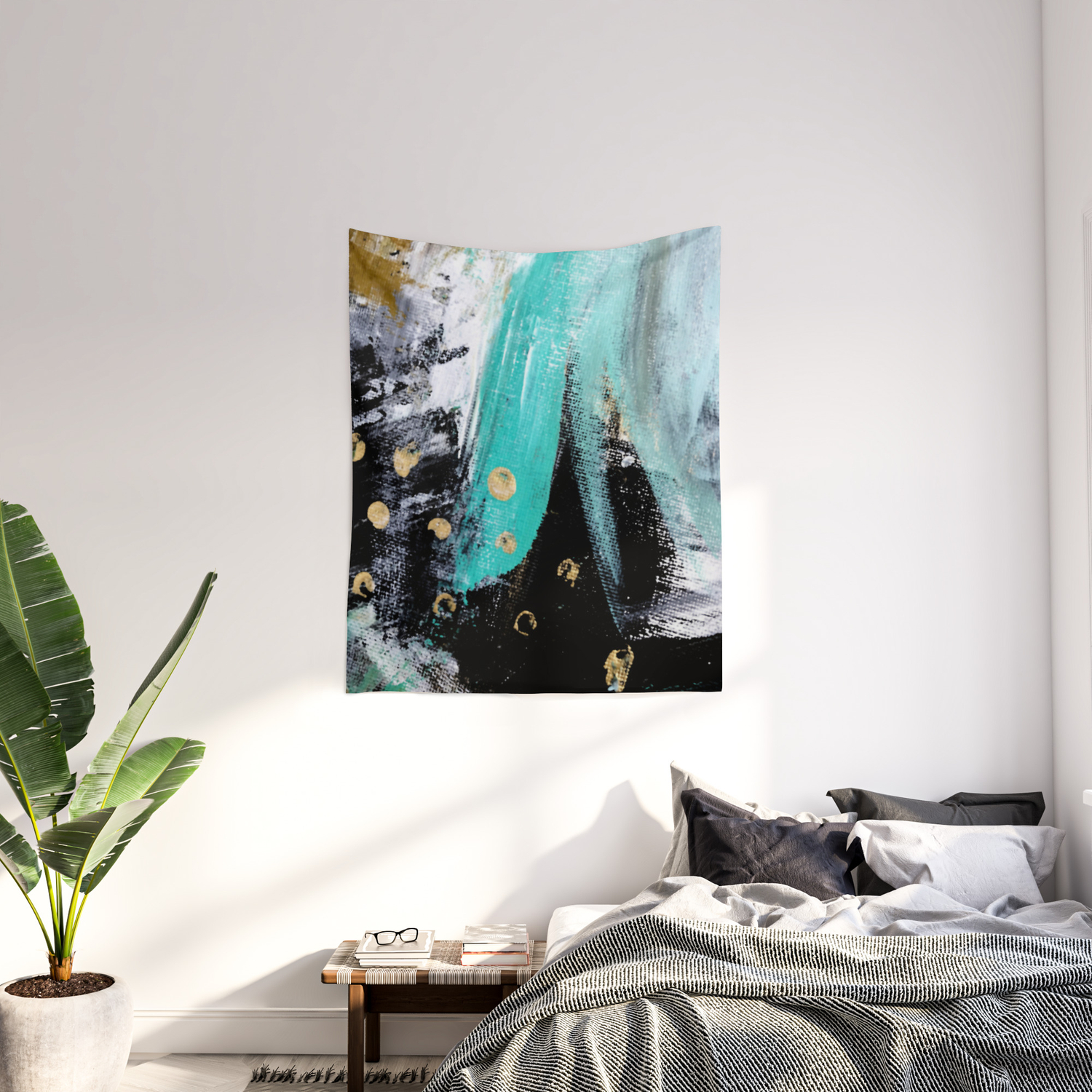 Fairy Dreams An Abstract Mixed Media Piece In Black White Teal And Gold Wall Tapestry By Blushingbrushstudio Society6