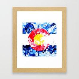 Colorado Watercolor Flag Framed Art Print