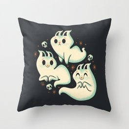 Ghost Cats Throw Pillow