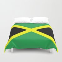 jamaica Duvet Covers featuring Jamaica Flag by Barrier Style & Design