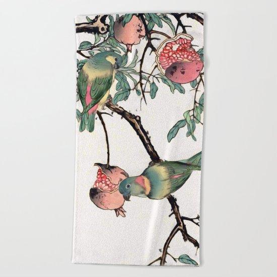 Pomegranate and Lovebirds Beach Towel