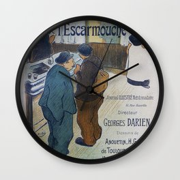 L Escarmouche, 1893 French Vintage Poster, Henri-Gabriel Ibells Wall Clock