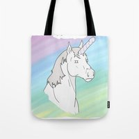 penis Tote Bags featuring Unicorn, Penis horn by Bluh