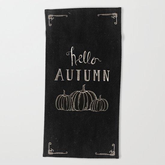 Hello Autumn Beach Towel