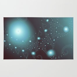 Blue Cosmos Abstract Fractal Art Rug
